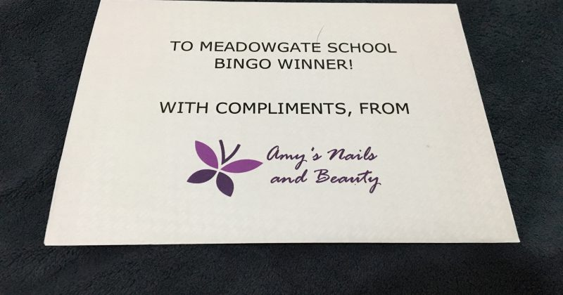 Amy's Nails and Beauty donates prize for Meadowgate School bingo